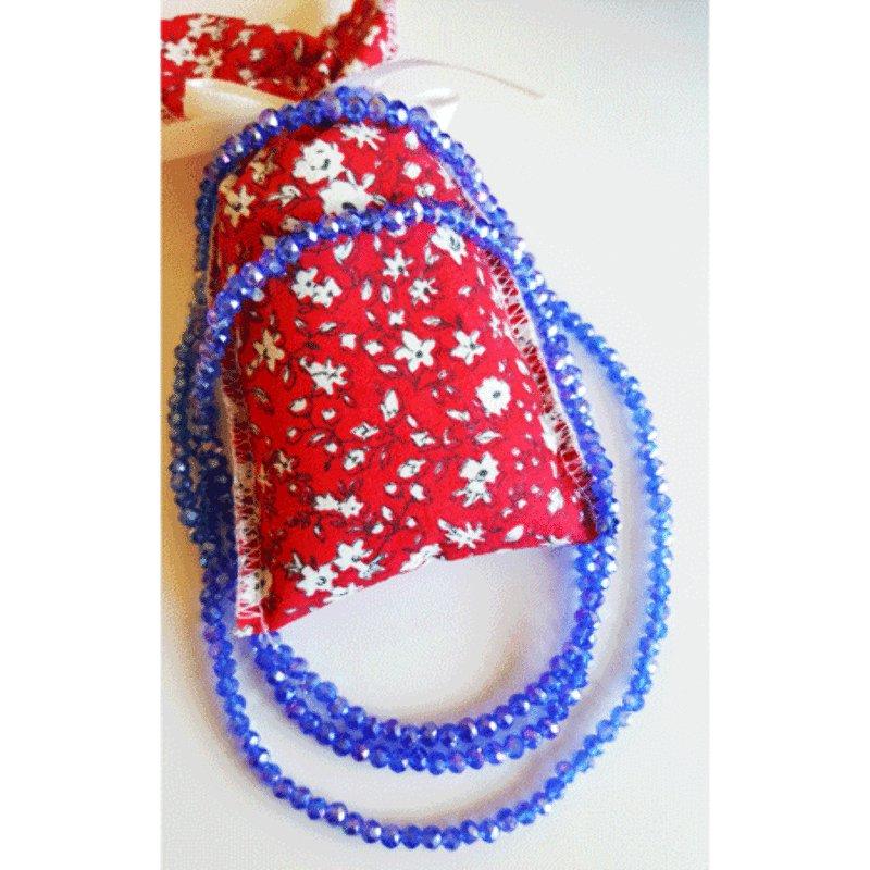 Bead Bracelet or Necklace w/ Lavender Sachet - Blue