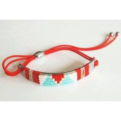 Navajo Half Cuff Bracelet - Red
