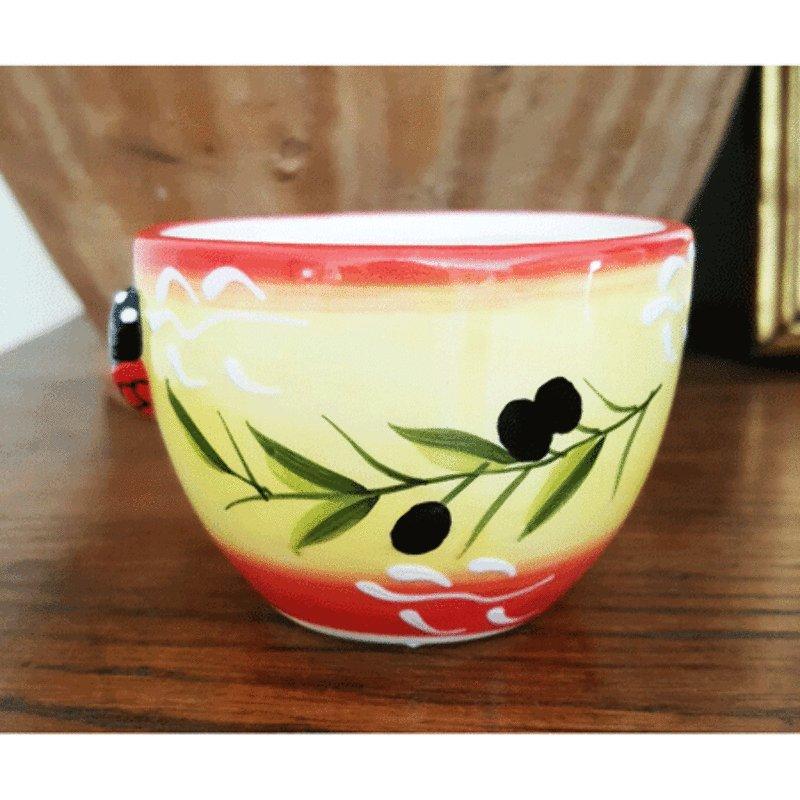 Ceramic Cicada Mini Bowl - Yellow with Red Trim