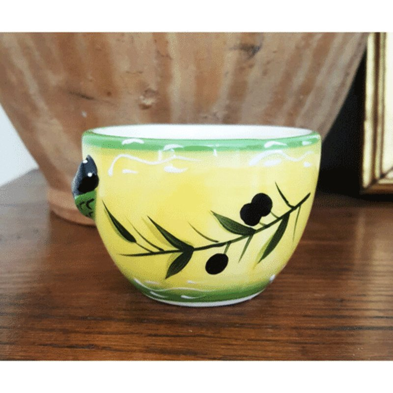Ceramic Cicada Mini Bowl - Yellow with Green Trim<br>