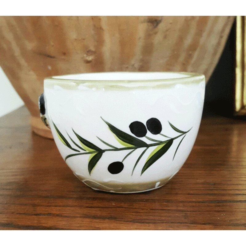 Ceramic Cicada Mini Bowl - White with Kaki Trim
