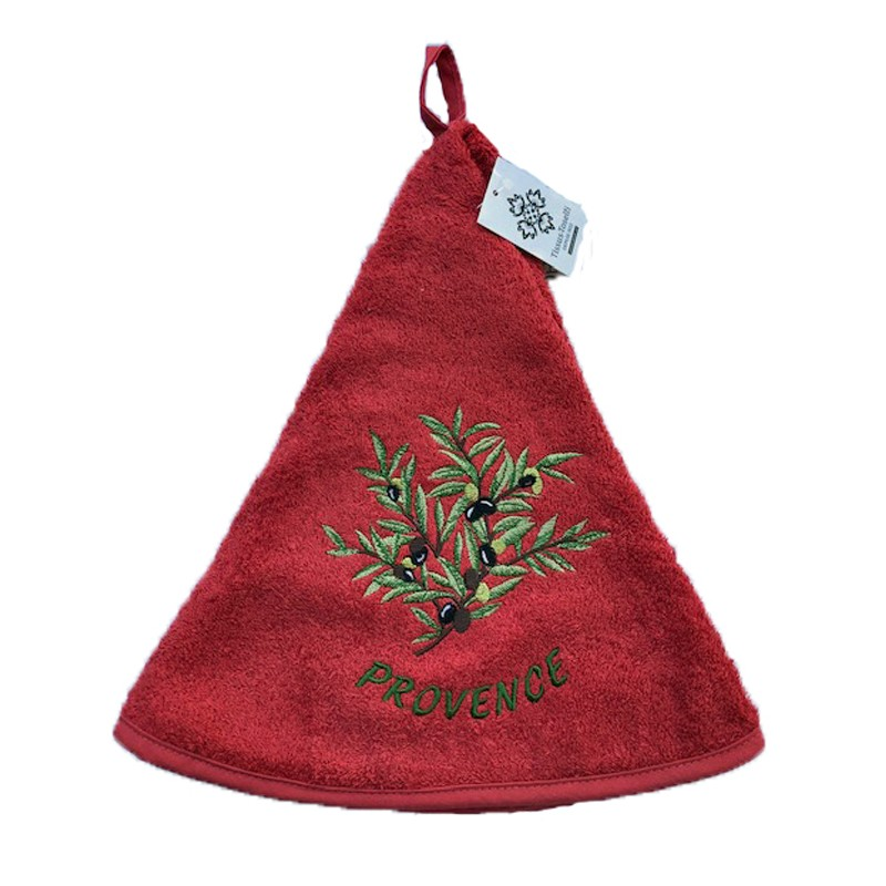 Round terry hand towel red Olives