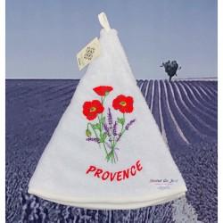 Round Terry Hand Towel - Poppy White
