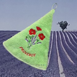 Round Terry Hand Towel Poppy Green