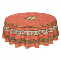 Provence Coated Round Orange Tablecloth - Marat d'Avignon