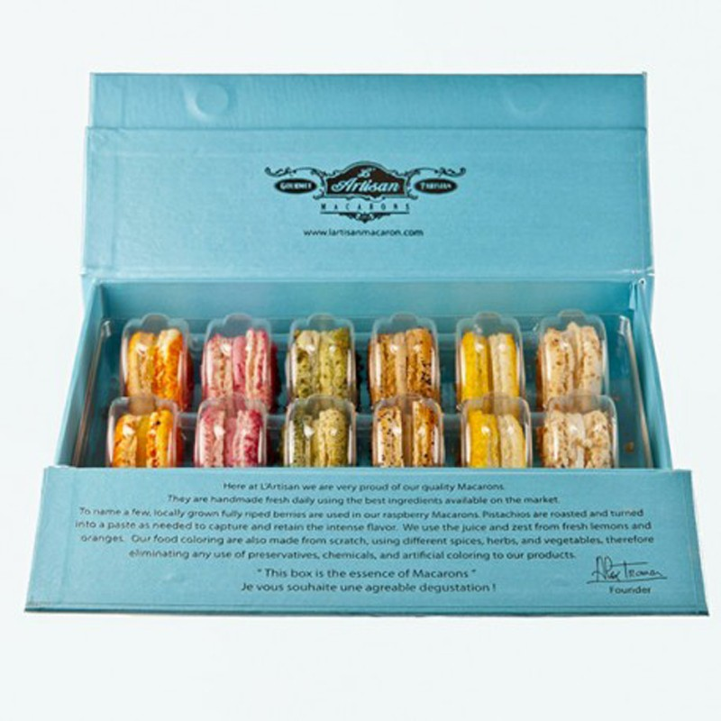 French Macarons - Blue Box 12 count - Classic Collection