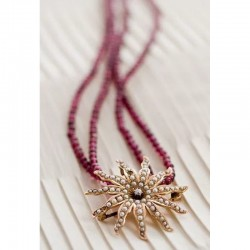 DIAMANT ETOILE- antique gold, diamond & pearl pendant and garnet necklace