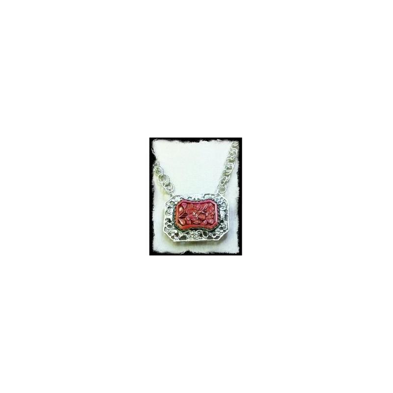FLEUR ROUGE - Cinnabar & Silver Necklace