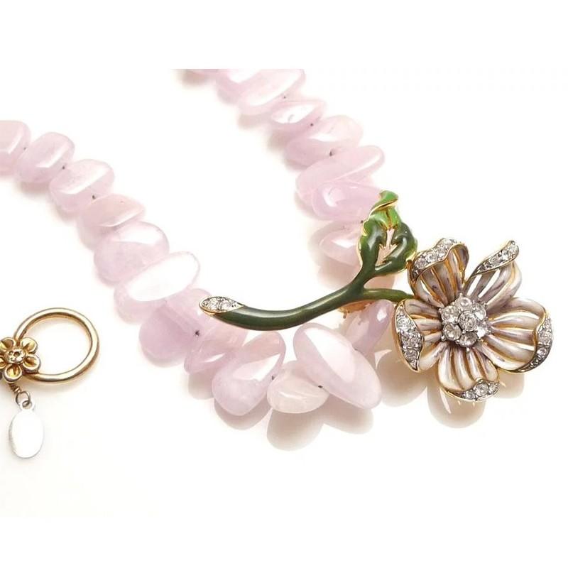 FLEUR ROSE - Enamel & Crystal Flower Brooch & Kunzite Necklace