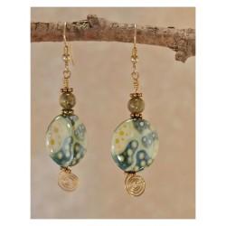 Ceramic & Green Garnet Earrings