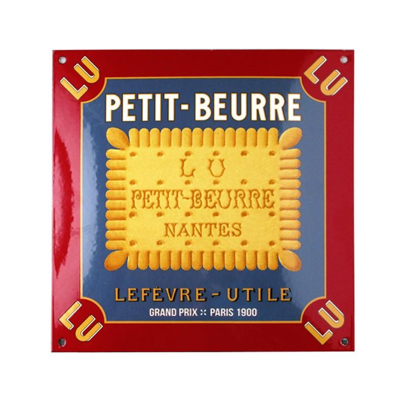 Enamel screen printed convex square sign Petit-Beurre Lu