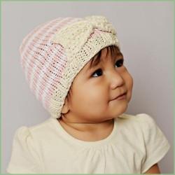 Bamboo Bow with Stripes Baby Knit Hat
