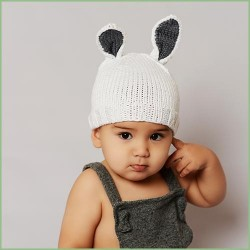 Bamboo Bunny Baby Knit Hat - Gray