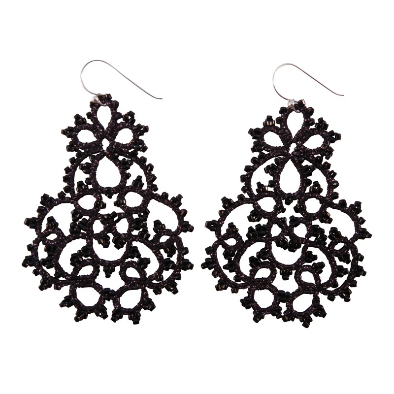Lace Large Black Chandelier Earrings by French Designer Lorina