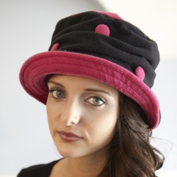 Piccadilly Fuschia/Black Polka Dot Hat by French Designer TurboWear