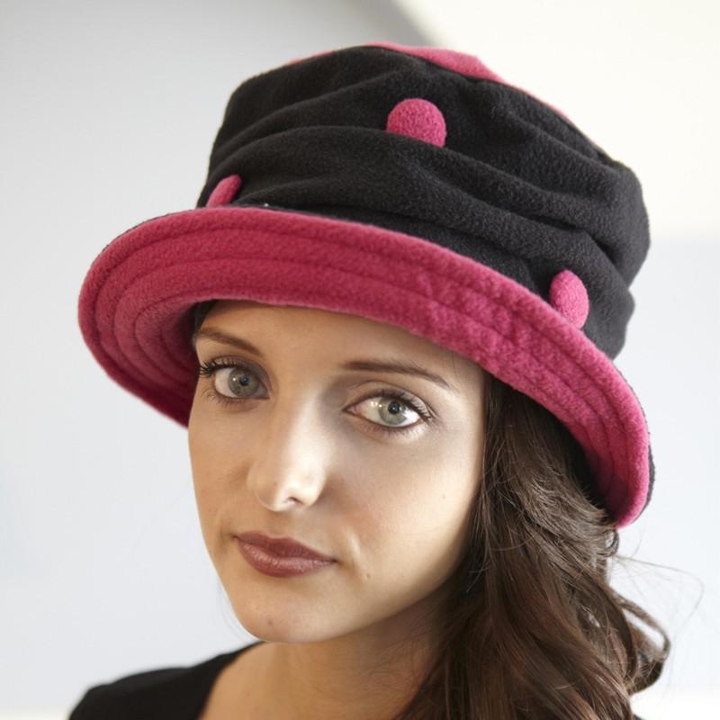 Piccadilly Fuschia/Black Polka Dot Hat by French Designer TurboWear
