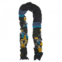 Scarf – Blue Gray Mustard by  French designer Berthe Aux Grands Pieds