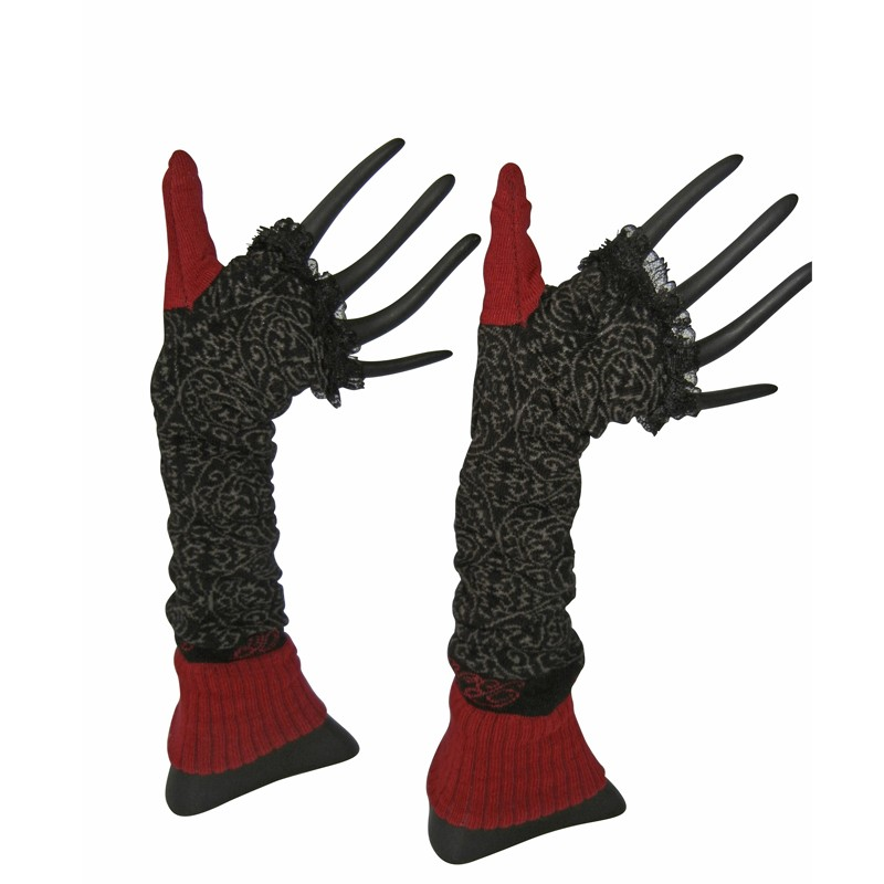 Arm Warmers - Black Red Lace by French designer Berthe Aux Grands Pieds