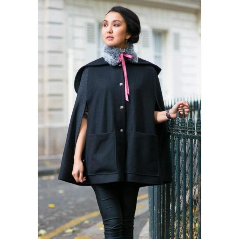 Cape Barbara – Black/gray Hooded Cape by French Designer Madeva