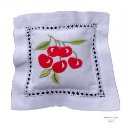 Embroidered Lavender Sachet - Cherries