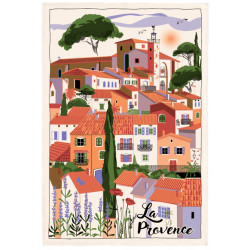 French Image Dish Towel - Provence Village