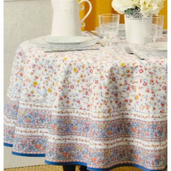 Provence Tablecloth - Valdrome Gentiane Round White