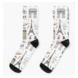 Socks - Paris Pattern White