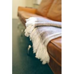 Handmade Chunky Cashmere Throw or Blanket Scarf - Chevron Beige