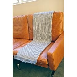 Handmade Chunky Cashmere Throw or Blanket Scarf - Grey & White