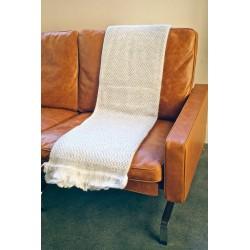 Handmade Chunky Cashmere Throw or Blanket Scarf - Light Grey & White