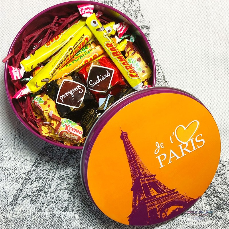 I love Paris Decorative Round Tin with Gourmet Treats