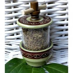Provence Ceramic Grinder - Green & Brown