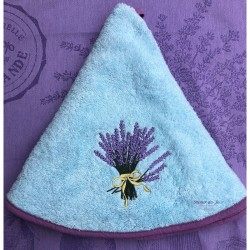 Round Terry Hand Towel - Lavender Light Aqua