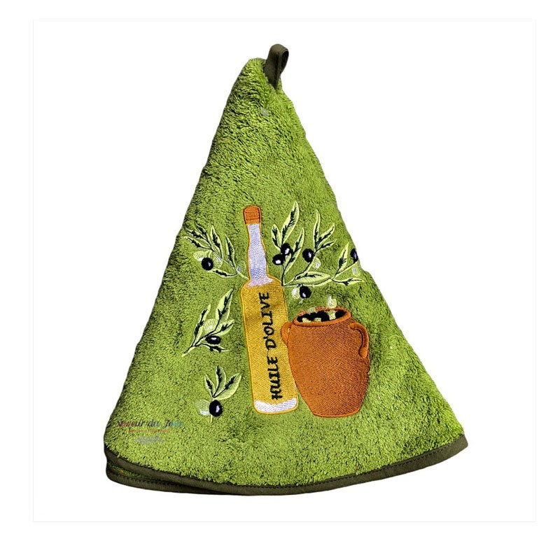 Round Terry Hand Towel - Olive Oil & Pot Green