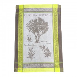 French Dish Towel - Olivier de Provence Beige/Apple Green