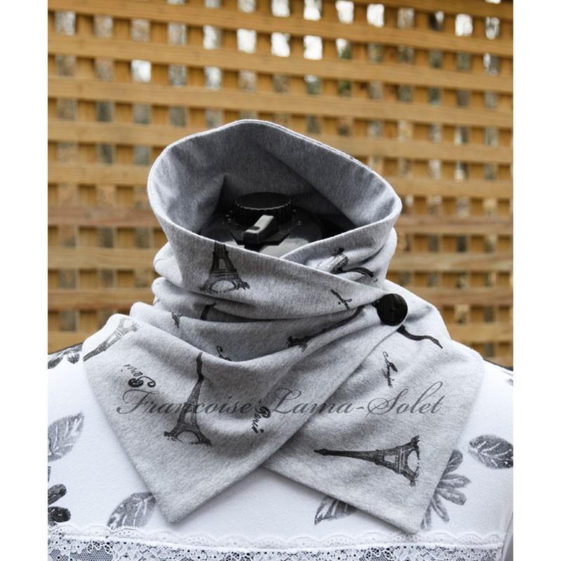 Neck Warmer Button Scarf - Bonjour Paris - Light Grey