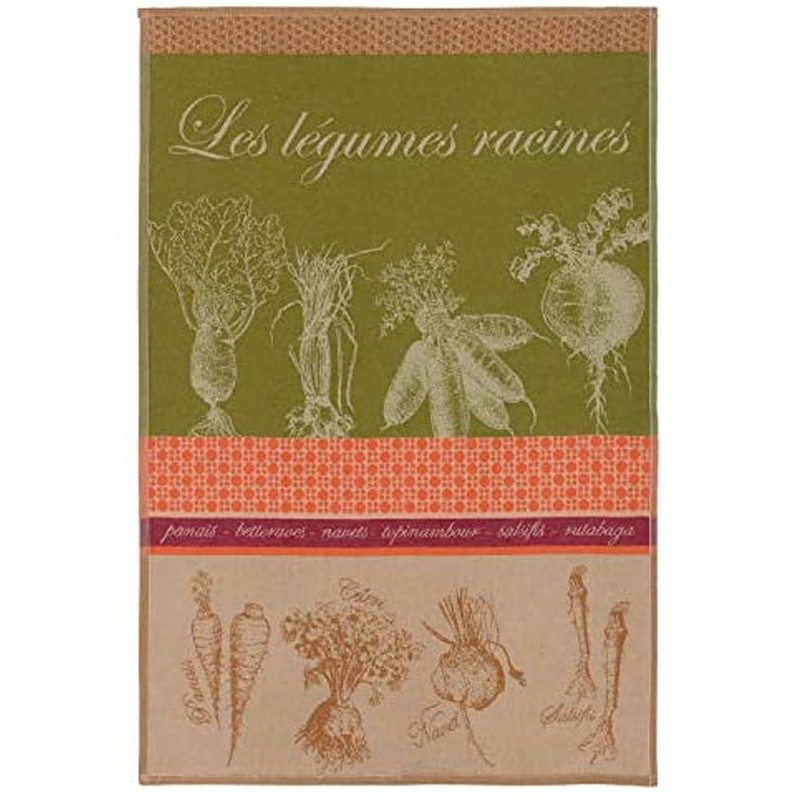 French Dish Towel - Les Legumes Racines - Coucke