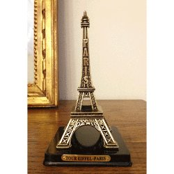 Eiffel Tower Replica on Wooden Base