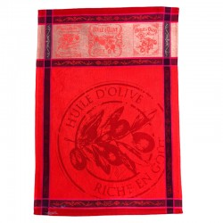 French Dish Towel - Huile d'Olive - Red
