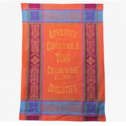 French Dish Towel - Aperitifs -Orange
