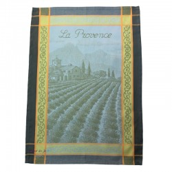 French Dish Towel - La Provence - Green/Yellow