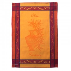 French Dish Towel - Olive Provence - Yellow/Red