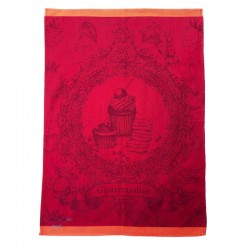 French Dish Towel - Gourmandise - Red