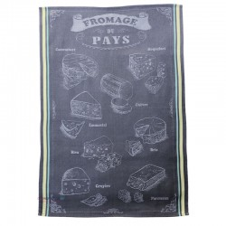 French Dish Towel - Les Fromages du Pays - Grey