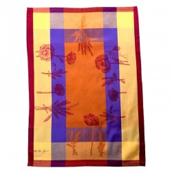 French Dish Towel - Poppy - Orange
