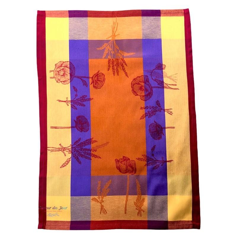 French Dish Towel - Poppy - Orange