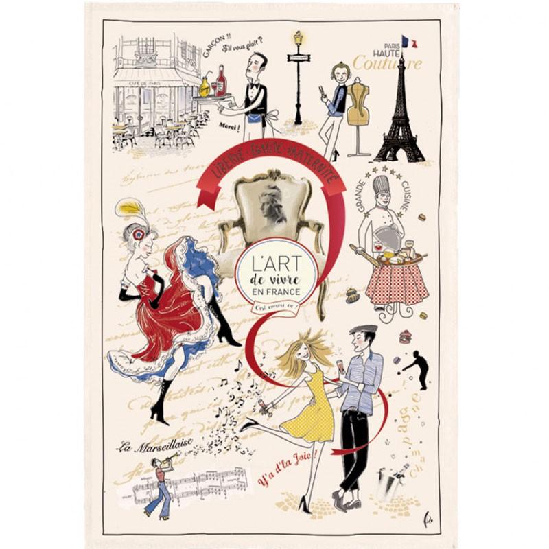 French Image Dish Towel - L'Art de Vivre en France - Torchons & Bouchons