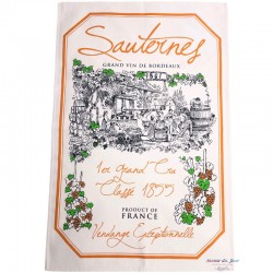 French Image Dish Towel - Sauternes - Wine Collection Torchons et Bouchons