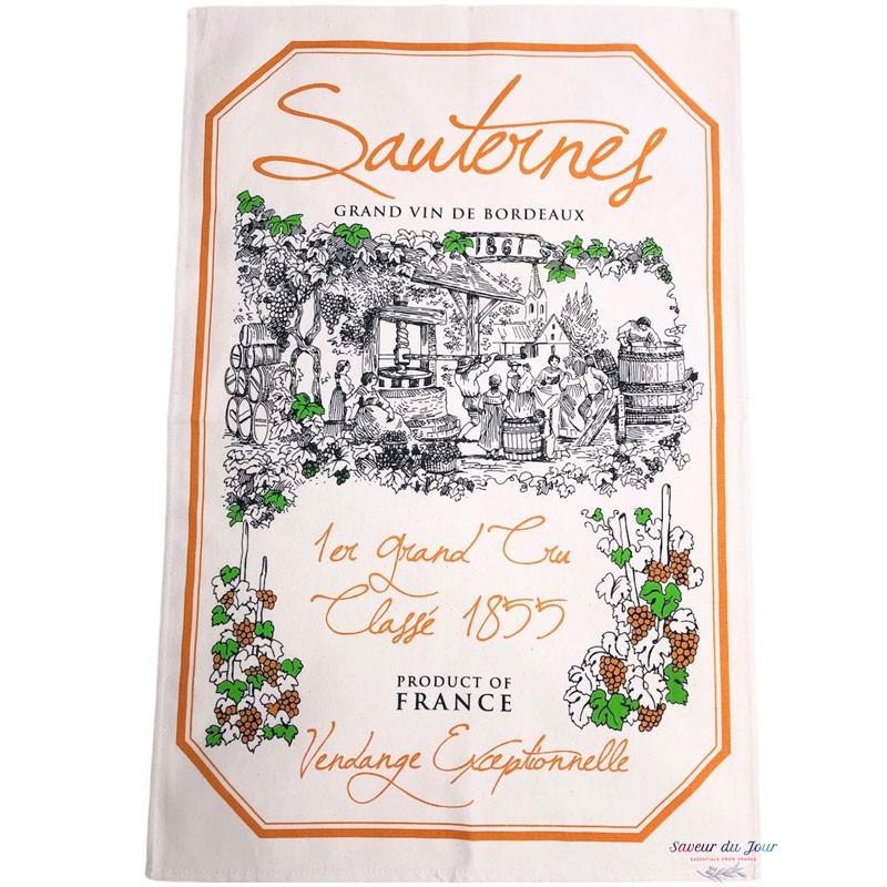 French Image Dish Towel - Sauternes - Wine Collection Torchons et Bouchons