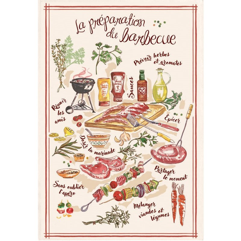 French Image Dish Towel - Le Barbecue - Torchons & Bouchons